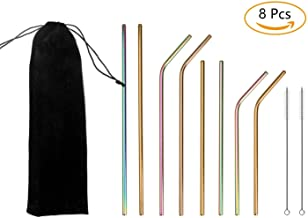 LANIAKEA Reusable Stainless Steel Straws, 8 Pcs Metal Drinking Straw with 2 Cleaning Brushes and Black Cloth Bag for Travel, Dating and Party, Cocktail, Juice (Colorful, Gold)