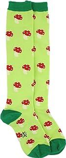 Sock It To Me Mushroom Yellow and Green Knee High Socks, Green, One Size
