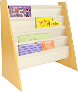 Pidoko Kids Sling Bookcase | Wooden Children's Bookshelf with Pocket Storage Book Rack (Natural)