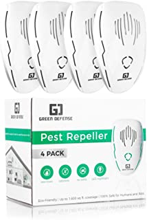 GREEN DEFENSE Ultrasonic Pest Repellent Plug in 4 Pack  Roach, Spider, Bed Bugs, Ants, Rodent, Mosquito Repeller   Poison Free