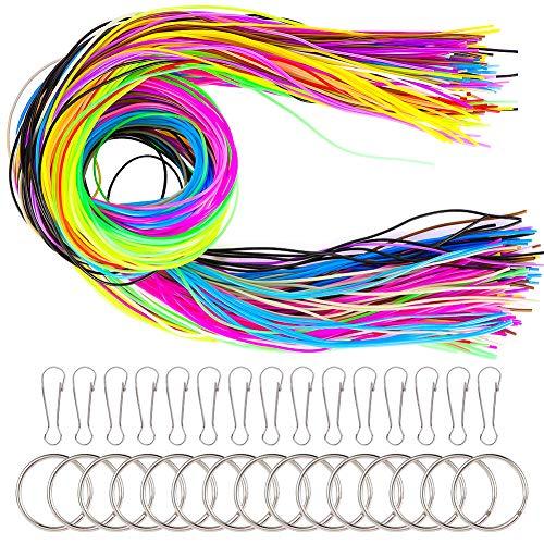 JOELELI 200 Stück Scoubidou Saiten DIY Kunststoff Schnürung Cord Kids Handarbeit in 20 Farben mit 30 PCS Snap Clips und Schlüsselbund Ringe