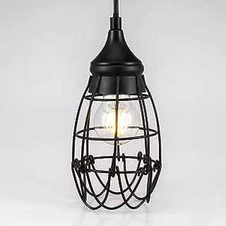 Industrial Vintage Hanging Pendant Lighting Fixtures, Polygon Wrought Iron Metal Shade, Black Finish (E27 Base)