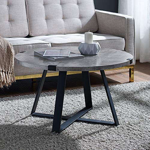 Best WE Furniture Rustic Farmhouse Round Metal Coffee Accent Table Living Room, 30 Inch, Grey Concrete