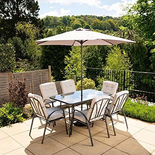 HECTARE Hadleigh Garden Outdoor Patio Table/Chair/Parasol Dining Furniture Set (6 Seater, Stripe Grey)