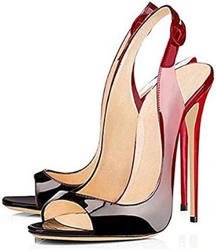 DZW Chaussures Femme Talon Stiletto Avec Boucle Cheville Boucle Peep Toe Sandales SlingbackRendez-vous différent