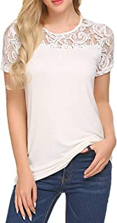Womens Casual Tops Lace Hollow Summer Tunic Top Loose Blouse Shirts