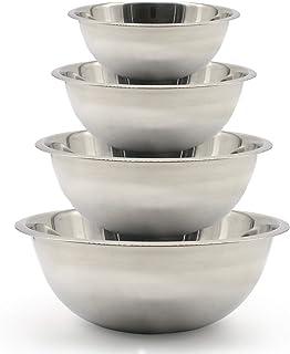 Lot de 4 bols mélangeurs en acier inoxydable de qualité supérieure - Tailles : 1,2 L, 2,3 L, 4 L et 6,5 L - Idéaux pour la...