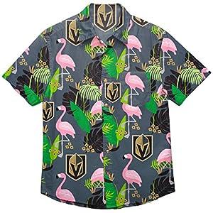 NHL Vegas Golden Knights Mens Floral Tropical Button Up Shirt, Team Color XL by Team Beans, LLC