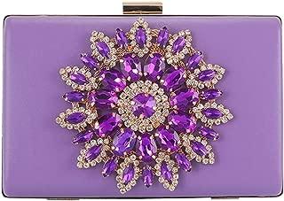 ETH Ladies Luxury Sun Flower Diamond PU Leather Banquet Clutch Dinner Bag Crystal Rhinestone Wedding Dress Evening Bag Gift Chain Shoulder Messenger Bag Permanent (Color : Purple)