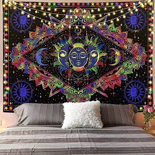 Psicodélico Tarot Card Astrología Brujería Tapiz Sol Luna Tapiz Pared Hippie Cielo Tapiz de pared Manta A5 180x200cm