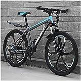 N&I 24 inch Mountain Bikes Mens Women Carbon Steel Bicycle 30-Speed Drivetrain All Terrain Mountain Bike with Dual Disc Brake 21Vitesses 30vitesses Black 3 Spoke