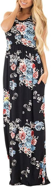 Jug&Po Women's Floral Print Sleeveless Long Maxi Casual Dress