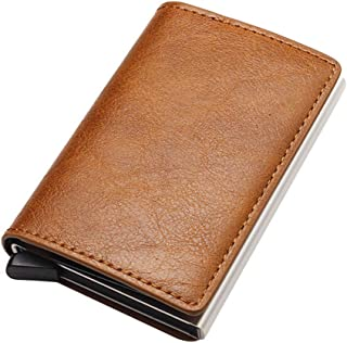 Baeskii Mad Cow Leather+Aluminium RFID Credit Card Holder Automatic Pop up Wallet Ultrathin Metal Card Case for Men and Wo...