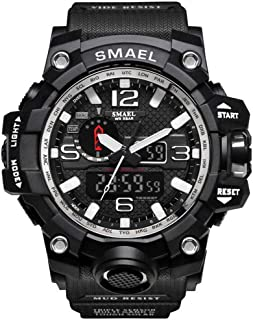SMAEL Boy's Military Watch, Big Face Sports Watch Army Style Multifunctional Wrist Watch for Youth - silver