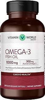 Vitamin World Omega-3 Fish Oil 1000 mg. 250 Softgels, EPA DHA, Heart Health, Cardio Support, Rapid-Release, Gluten Free