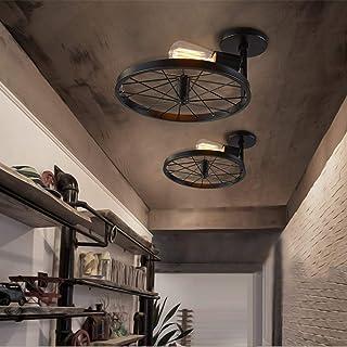 NIUYAO Vintage Retro Loft Pendant Chandelier Wheel Shape Industrial Semi Flush Mount Ceiling Light Lamp Fixture Hanging Lighting for Hallway Kitchen Dining Room Living Room