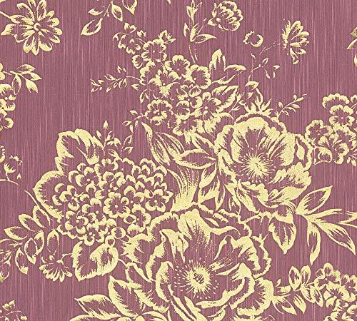 Architects Paper Textiltapete Metallic Silk Tapete mit Blumen floral 10,05 m x 0,53 m metallic rot Made in Germany 306576 30657-6