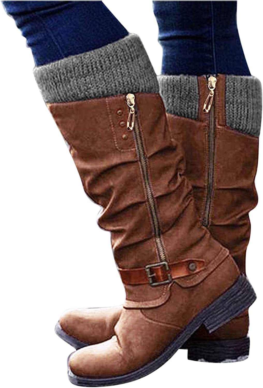 Gibobby Boots for Women,Womens Round Toe Platform Boots Side Zipper Buckle Mid-Calf Boots Casual Flat Heel Fashion Cowboy Boots