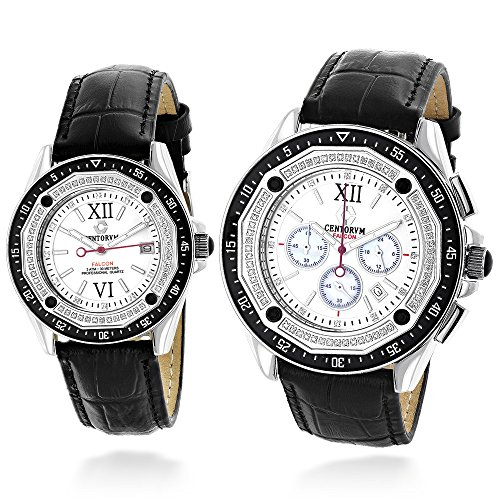 His and Hers matching watches: Centorum Diamond Watch Set w Chronograph