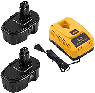 2 Packs DC9096 18 Volt 3.6Ah Ni-Mh Replace for Dewalt 18V Battery XRP DC9098 DC9099 DW9096 DW9098 DW9099 and DC9310 Charger for Dewalt 7.2V 9.6V 12V 14.4V 18V Ni-Cd Ni-Mh Batteries