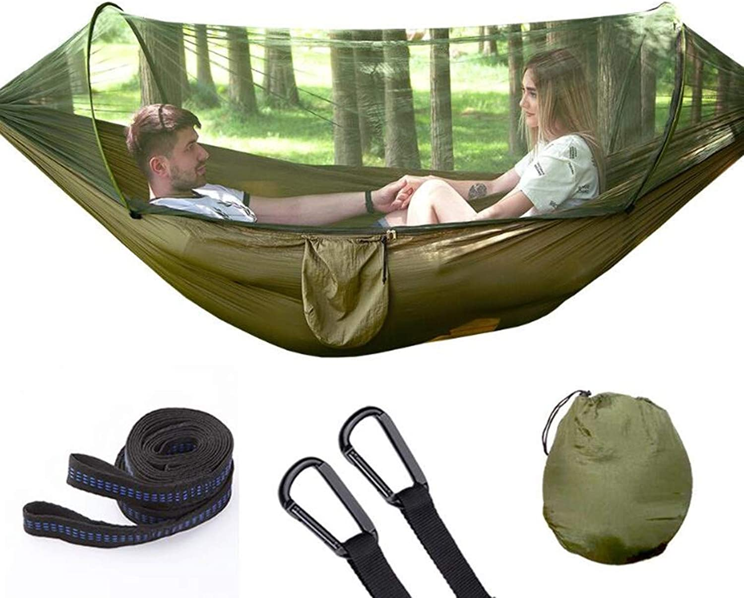 Portable Camping Hammock with Mosquito Bug Net Hammock Tree Straps & Carabiners   Lightweight Parachute Nylon Hammock for Camping Travel & More (Army Green 290x140cm)