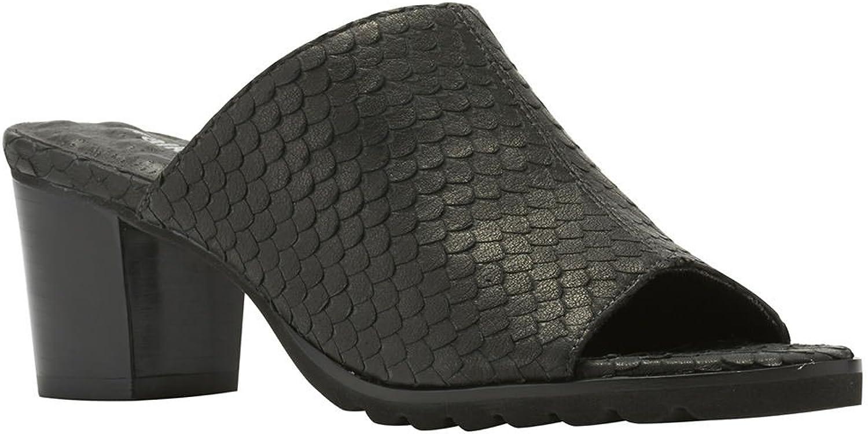 Walking Cradles Women's Nia Black Cut Snake Print Leather Sandal