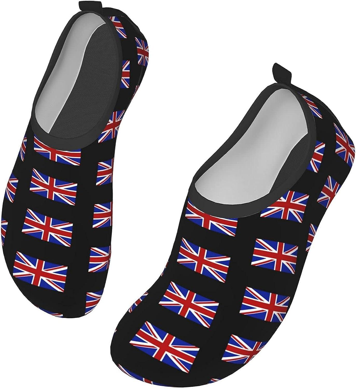 OMOXILOUY British Flag Water Shoes Quick-Dry Socks Slip-on Aqua Shoes Women Sandals Barefoot Shoes Yoga Shoes Unisex Surfing Yoga Pool Beach Swim Exercise Accessories 36/37