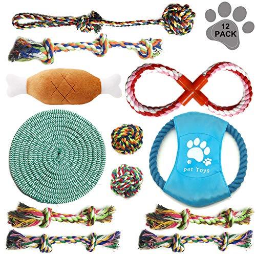 PietyPet Hundespielzeug Set, 12er Pack Dauerhaft Welpenspielzeug aus Natürlicher Baumwolle, Hund Seil Kauspielzeug und Quietschende Plüsch Hundespielzeug, geeignet für kleine Hunde