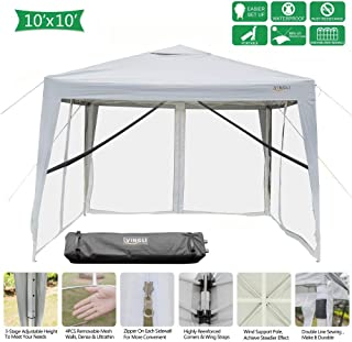 VINGLI 10x10ft Easy Pop Up Canopy Tent w/ 4 Removable Zippered Mesh Sidewalls & Portable Wheeled Carrying Bag, for Patio/Gazebo/Camping/Outdoor Activities, UV Coated Sun Shade Shelter, White