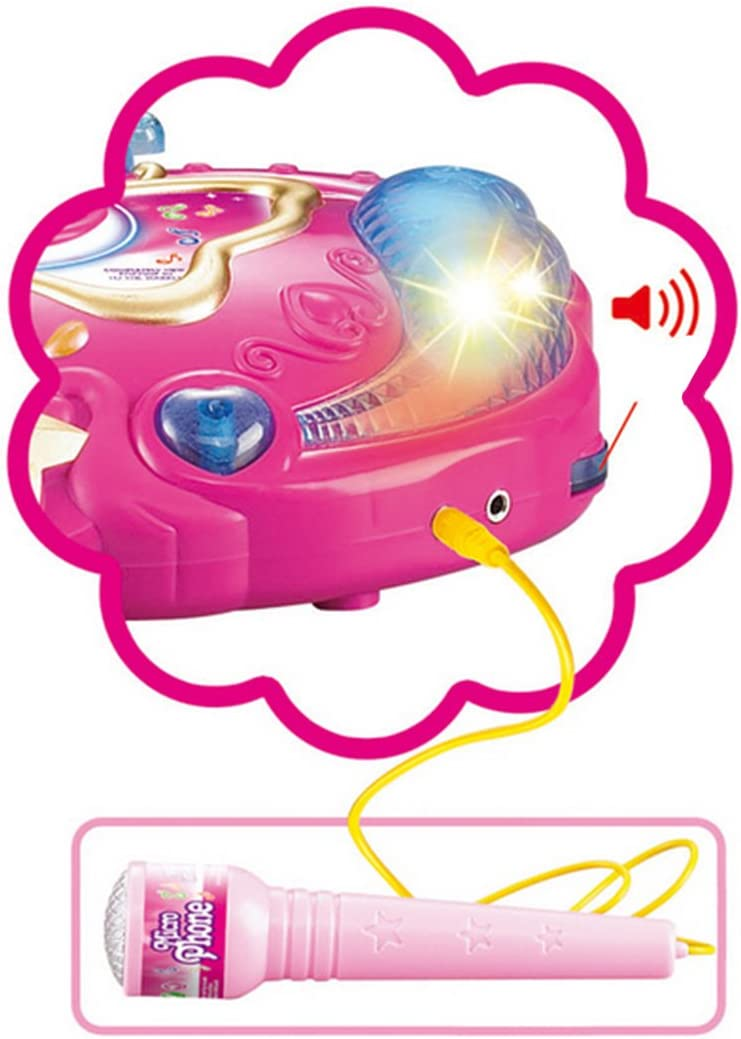 Teckpeak Kids Karaoke Adjustable Stand Microphone Music Microphone Toy with Light Effect Microphone with Stand for Kids Pink