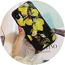 Hot Flower Lemon for iPhone X XS MAX XR Mobile Phone Shell Dragonfly erfly 6S 7 8Plus Water Drill Protection Sleeve,D,for iPhone XR