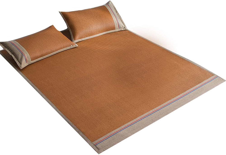 QB Summer Sleeping Mat Summer Sleeping Pad Rattan mat and Pillow Shams Set Three-Piece Folding Double 2sizes (color   D, Size   Queen)