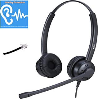 Corded Phone Headset with Noise Cancelling Microphone for Office Phones RJ9 Landline Telephone Headset Compatible with Panasonic Sangoma Snom Yealink Escene etc