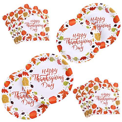 Aneco 150 piezas de suministros para fiesta de Acción de Gracias Desechables Vajilla Set Platos de Papel y Servilletas para Fiesta de Acción de Gracias, Sirve a 50 Huéspedes
