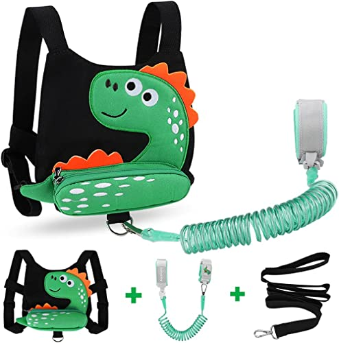 3 in 1 Toddler Harness Leash + Baby Anti Lost Wrist Link, Accmor Cute Dinosaur Child Safety Harness Tether, Kids Walk...