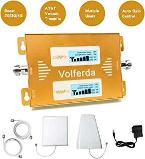 Volferda Cell Phone Signal Booster for Verizon, T-Mobile, AT&T 2G 3G 4G LTE, U.S.Cellular 2G 4G Amplifier for Home & Office Band2 Band5 Dual Band Signal Repeater Kits
