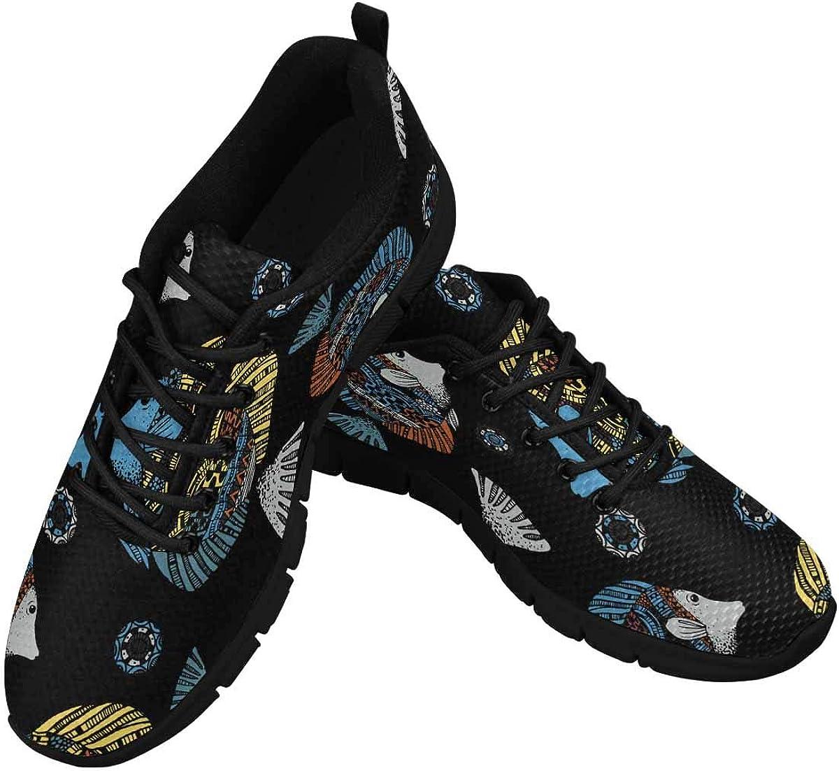 INTERESTPRINT Colourful Fish Pattern Women's Breathable Sneaker