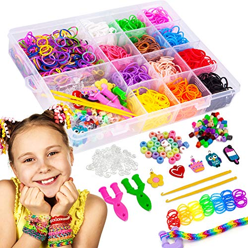 liberry Colorful Rubber Bands Bracelet Making Kit for Girls 4 5 6 7 8 9 10 Years Old, 2300+ Loom Bands, All in One Design, Great Kid Creativity DIY Gift Make Your Own Bracelets