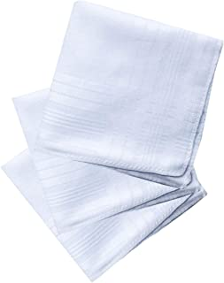 Men's Classic White Cotton Handkerchiefs Hanky Hankie