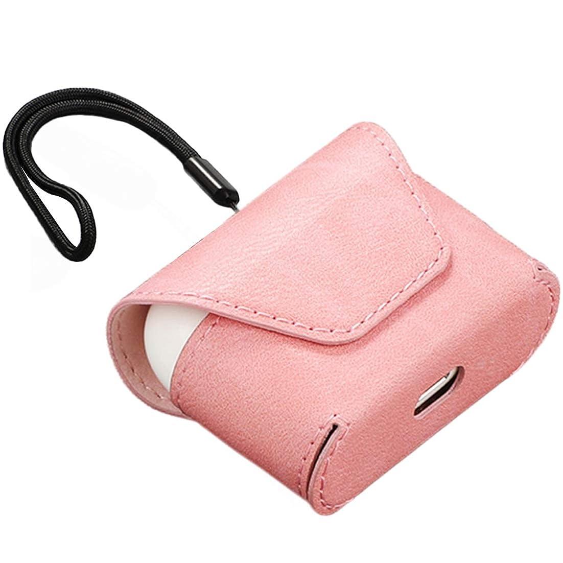限界圧力丁寧airpods pro 対応 レザー収納ケース マグネット式 ストラップ付き 持ち運び便利 充電用穴付き 使用便利 (ピンク)