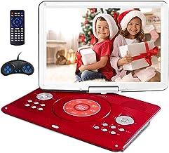 دی وی دی پلیر قابل حمل 16.9 اینچی با صفحه بزرگ چرخان 14.1 اینچ ، دی وی دی پلیر کودک قابل حمل برای سفر با 5 ساعت باتری قابل شارژ ، تلویزیون همگام پخش کننده ویدئو قابل حمل ، کارت SD SD USB با شارژر اتومبیل (قرمز)