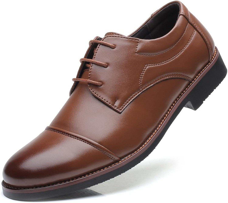 XHD-Men's shoes Fashion Men's Formal Business shoes Matte PU Leather Splice Lac