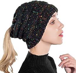 Taidor Messy Bun Ponytail Hat Chapeau Bonnet Trico