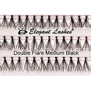 Elegant Lashes Double Flare Medium Black Individual Eyelashes (Double Pack - 2 Trays)