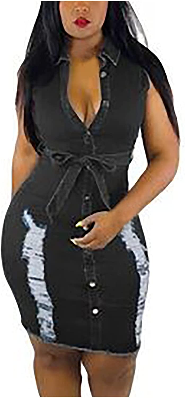 ESULOMP Women's Fashion Denim Dresses Sexy Sleeveless Lapel Buttons Pierced Denim Slim Dresses Club Party Mini Dresses