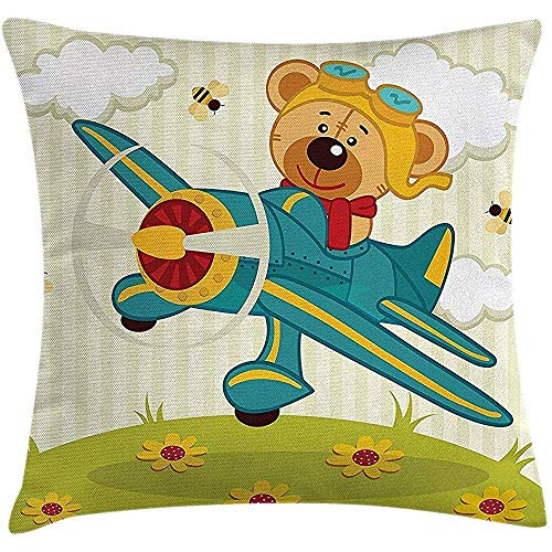 Imodest Cartoon Dekokissenbezug, Bär Fliegende Flugzeug in Wolken Blumenfeld Kind Kinderzimmer, Kissen Kissenbezug, 45 x 45 cm 2er-Set