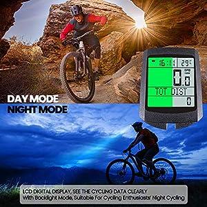 KOYOSO Computador Bicicleta Inalámbrica, Impermeable Cuentakilómetrospara Bicicleta con LCD Pantalla,26 Funciones, 5 Idiomas