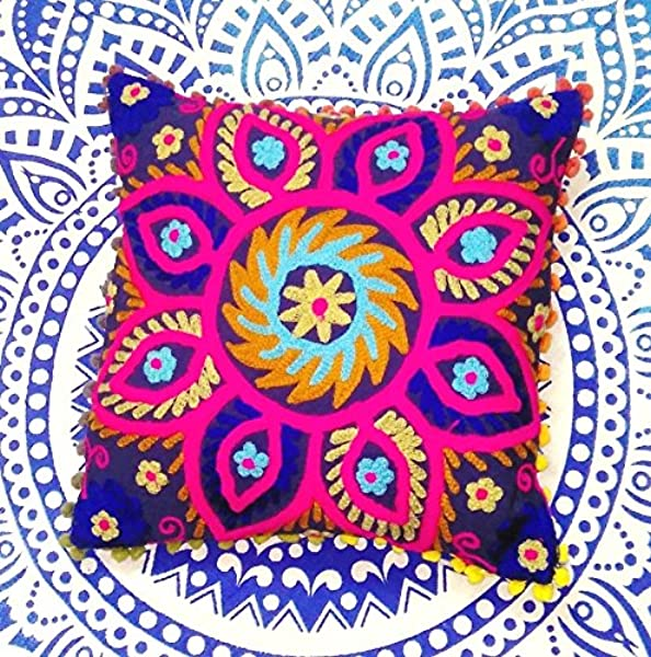 Suzani Pillows Embroidered Cushion Cover 16x16 Decorative Throw Pillow Case Indian Pom Pom Outdoor Cushions Boho Pillow Shams