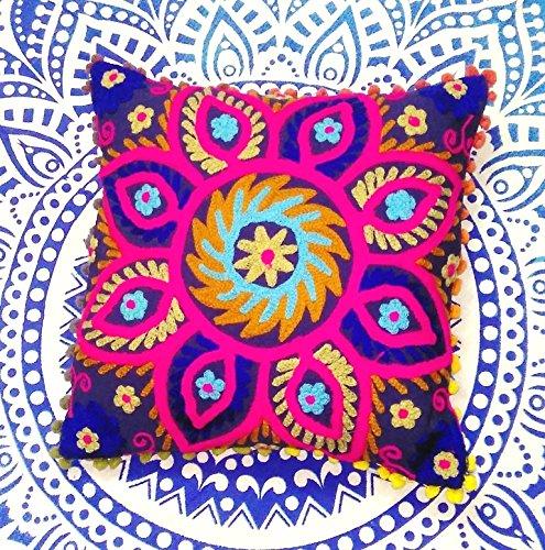 Traditional Jaipur Suzani Almohadas, Bordado Cojín 16x 16, Manta Decorativa Funda de Almohada, Indio Cojines al Aire Libre Pom Pom, Boho de Almohada.