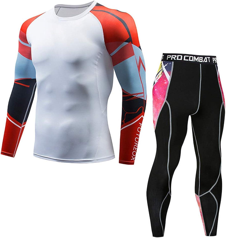 Men's Compression Running Jogging Sportswear Long TShirt Leggings Gym Fitness Tights 2 Pieces Set